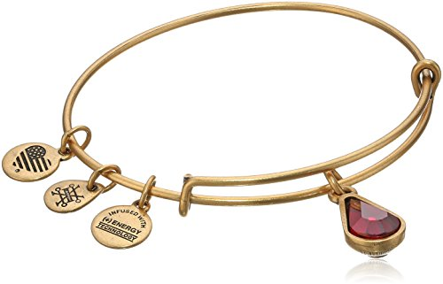Red January Charm - Alex and Ani January Birth Month Charm with Swarovski Crystal Rafaelian Gold Bangle Bracelet