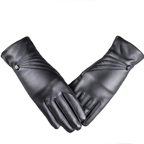 Women Gloves Winter Leather, Lowprofile Women Girl Leather Warm Leather Gloves Cashmere Lined Touch Screen (Black) ()