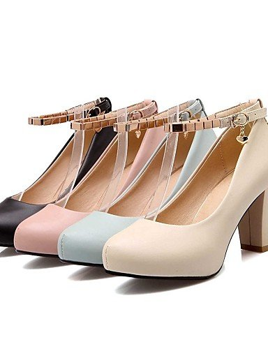 GGX/Damen Schuhe PU Sommer-/, Round Toe Heels Büro & Karriere/Casual Chunky Heel Schnallen Schwarz/Blau/Pink/Beige black-us6.5-7 / eu37 / uk4.5-5 / cn37