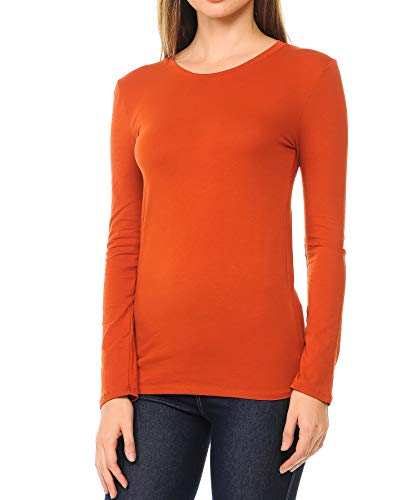Crew Neck Cotton Blend Essential Long Sleeve T-Shirt Top,Copper,Small ()