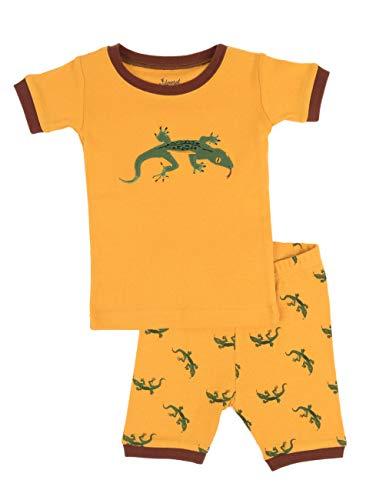 Leveret Kids Boys Girls Two Piece Pajamas Set 100% Cotton Short Summer Pajamas Lizard (8 Years) - Free Lizard