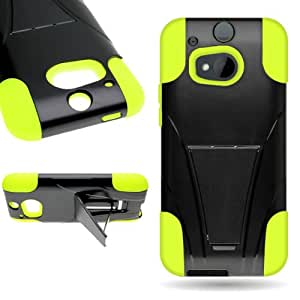 CoverON® HTC One M8 Hard Case + Soft Skin Hybrid Stand Cover - Neon Green / Black