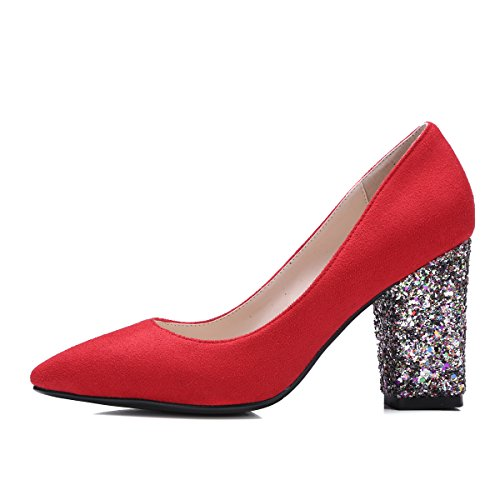 Moda Talón de las mujeres grueso talón con purpurina talón punta Toe noche Bomba de zapatos de corte Red