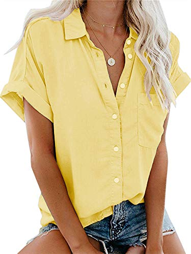 (Womens Casual V Neck Solid Cuffed Sleeve Button Down Collar Blouses Shirts Tops Yellow S)