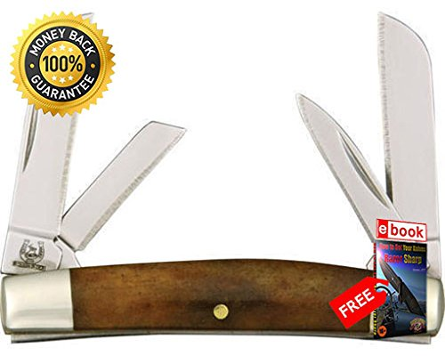 - Rough Rider Folding Utility Knife 931 Folding Knife Miniature Congress Smooth Tobacco Bone Handle razor sharp knife strong carbon blade survival camping hunting EDC military knife eBOOK by MOON KNIVES