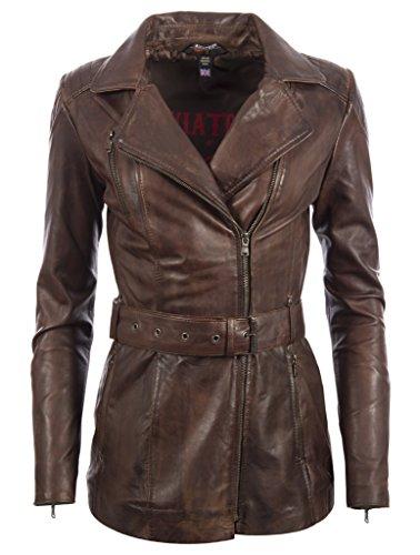 Mujer Ultra Estiloso Alta Calidad Cuero Auténtico Moda Chaqueta Con Cinturón Por MDK Nevada Brown
