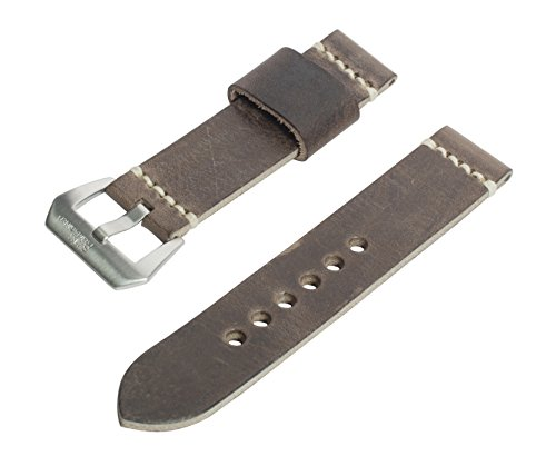 20mm Antique Brown Full Thickness Italian Leather Watch Band with Satin Finished Stainless Steel Buckle Leather Gear Cuff Watch