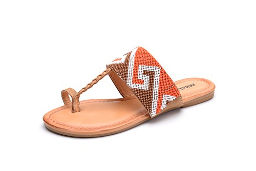 - Mila Lady Amy-10 Tribal Beaded Indian Accent Toe Ring Flat Sandal Camel 8