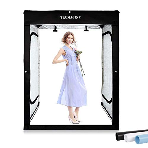 - 47x39x78 inch Professional Photography LED Studio Large Lightbox Dimmable Photo Video Continuous Lighting Cube Shooting Tent Kit with 3 Colors Backdrops and Carrying Bag