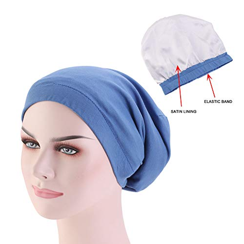DuoZan Unisex Satin Lined Slouchy Beanie Double Layer Cotton Sleep Cap with Elastic Band Headwear Slap Hat (Blue) ()