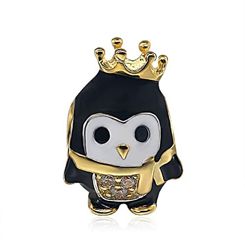 EVESCITY 925 Silver Gold Many Styles Beads for Charm Bracelets ♥ Best Jewelry Gifts for Women Her Girls ♥ (Cute Queen Penguin)
