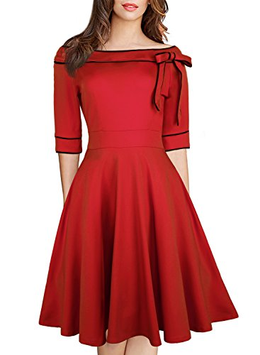 Lady's 60s Elegant Off Shoulder Cocktail Dress 1950's Style Church Womens Half Sleeve Vintage Swing Work Dress for Party 188 (XXL, Burgundy) -