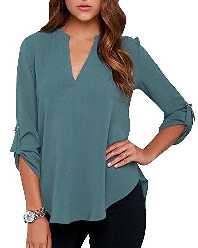 Blusa Camicia Chiffon collo Donna Pavone V Lunga Blu Ufficio Maglia Elegante Manica Casual 56ZZx