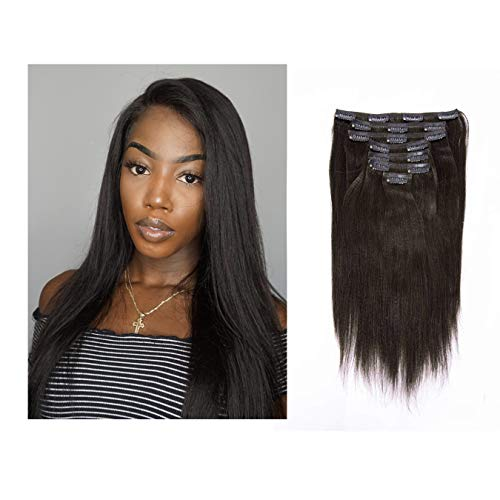 Lacerhair Real Remy Human Light Yaki Hair Clip in Hair Extensions Kinky Straight Natural Black Color For American African Double Weft Full Head Relaxd Hair 120G 7Pieces 10-22 inch (12 inch, Yaki #1B)
