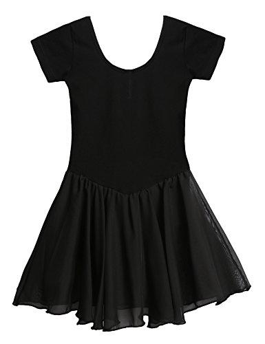 Arshiner Girls' Dance Leotard Ruffle Sleeve (130(Age for 5-6Y), Black(FBA)) (Dance Jumpsuit Costumes)