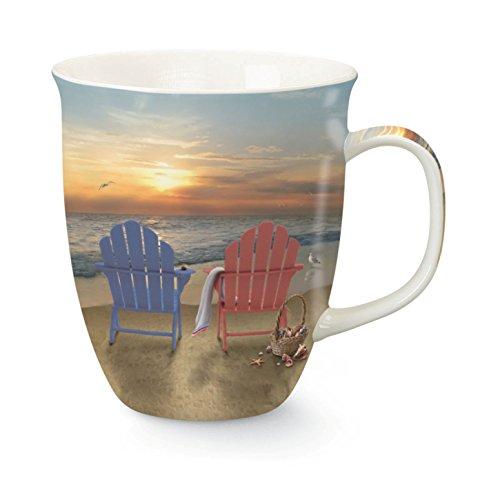 Sunset on Beach 15 Ounce Porcelain Coffee Latte Tea Harbor Mug by Cape Shore
