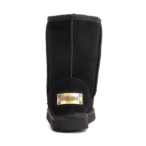 Half Snow Boot Women's Leather Winter Boot Classic Black AUSLAND XZ7qq