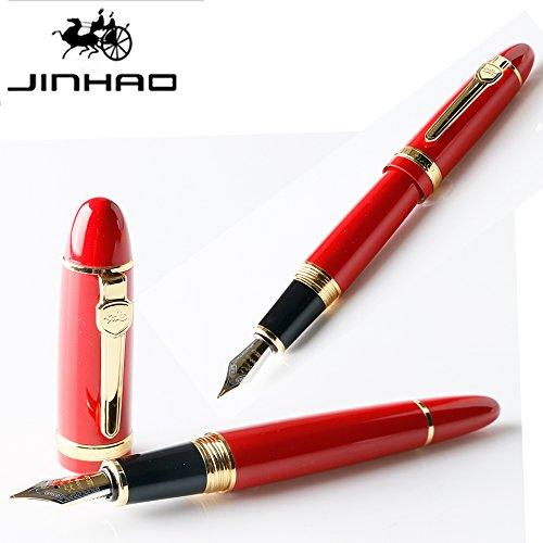 JINHAO 159 Pens Red and Golden Trim 18KGP Medium M Nib Smooth Writing Executive Luxury Fountain pen