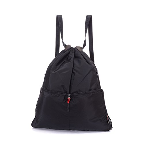 Yinjue Foldable Basic Drawstring Tote Cinch Sack Promotional Backpack for Women Men And Kids Shopping Gym Sports Black by Yinjue