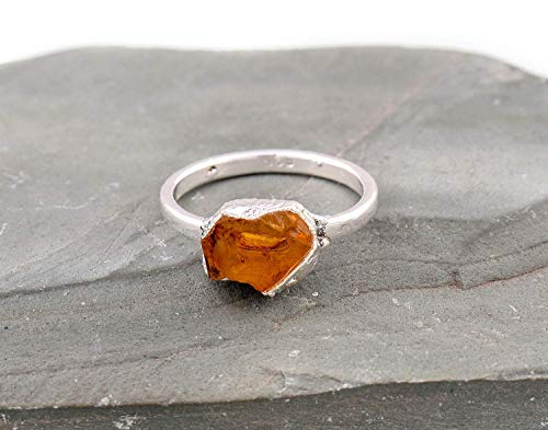 Raw Citrine Gemstone Crystal Ring Jewellery For Mother, Citrine Rock, Rough Citrine, Electroformed Rings Sterling Silver, November Birthstone Size 7