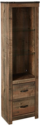 Ashley Furniture Signature Design - Trinell Tall Pier Cabinet/Media Bookshelf, Brown