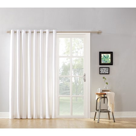 Modern Blackout Energy Efficient Extra Wide Sliding Glass Door and Patio Door Curtain Panel with Grommets and Detachable Wand, 100% Polyeser, Multiple Colors Available!, 100