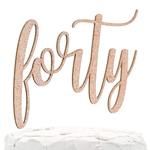 NANASUKO 40th Birthday Cake Topper - forty - Double Sided Rose Gold glitter - Premium quality Made in USA
