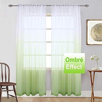 Amazon Com Keqiaosuocai Green Sheer Curtains Ombre Window