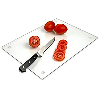 Tempered Glass Cutting Board - Long Lasting Clear Glass - Scratch Resistant, Heat Resistant, Shatter Resistant, Dishwasher Safe. (Large 12x16