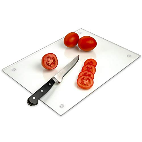 (Tempered Glass Cutting Board - Long Lasting Clear Glass - Scratch Resistant, Heat Resistant, Shatter Resistant, Dishwasher Safe. (Large 12x16