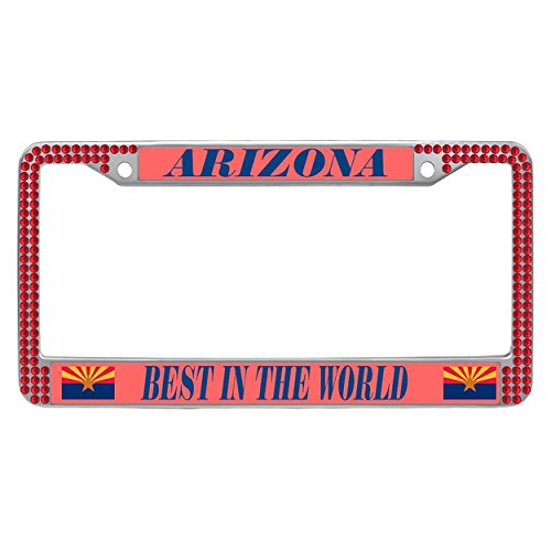Dasokao Custom License Plate Frame Arizona (AZ), Rhinestones Bling Glitter Cute Auto License Plate Frame With Screws Fasteners Caps - Red (Arizona Plate State Diamond)