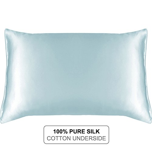 MYK SILK - Natural Silk Pillowcase with Cotton Underside for Hair and Facial, 19 Momme Light Blue King (Cotton Silk Sheets)