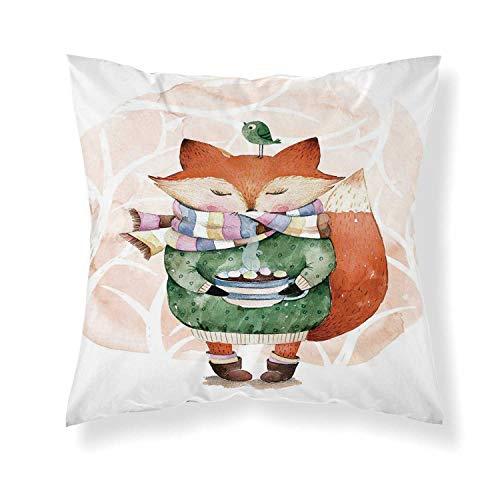 YOLIYANA Watercolor Comfortable Throw Pillow,Cute Little Fox Wants