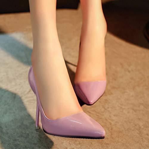 Zapatos Mano Zapatos del Otoño zapatos Boca De Aguja Yukun Acentuados Solo Acentuados de Solos Hechos Mujeres tacón Baja Las De alto La A Tacones Pink De awpYqO