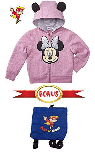 Disney Minnie Mouse Jacket Girls Fleece Zip Up Hoodie Bonus Backpack Bag, Mouse Applique Front & Mouse Ears Full Zip Jacket (4t)
