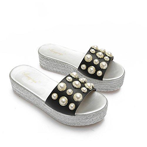 base 40 ranurado Perla elegante Sandalias zapatillas cm de 4 Bizcocho 41 AJUNR espesor Moda Transpirable negro wCS6xXq