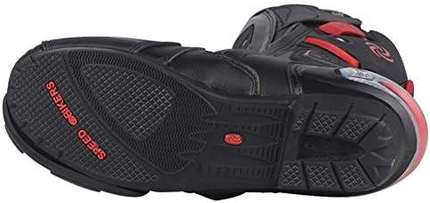 per Moto da Corsa in Pelle MeterMall Stivali da Motocross Professionali