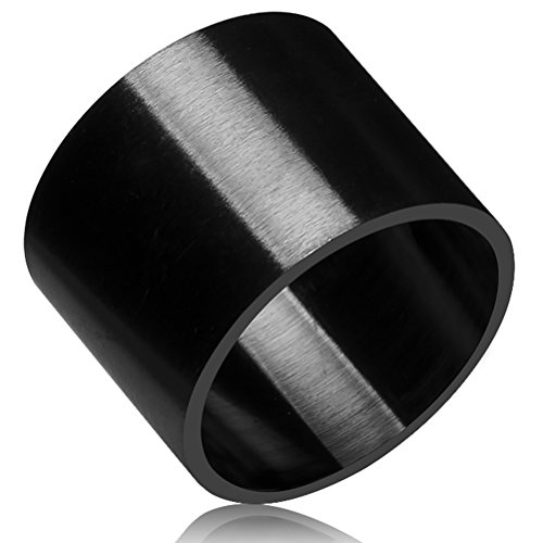 [Mens Womens 19mm Black Wide Stainless Steel Ring Big Cool Band Full Circle Matte Finish Flat Top Size] (Full Halo Costumes)