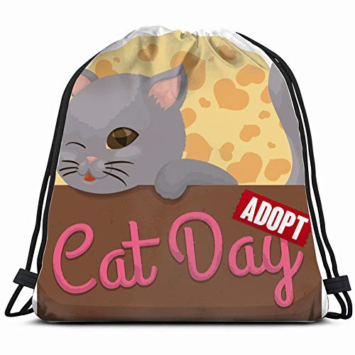 cute kitty winking you inside cardboard animals wildlife adopt holidays Drawstring Backpack Gym Spacious Pull String Backpack Multifunctional storage bag 14.2 x 16.9 inch