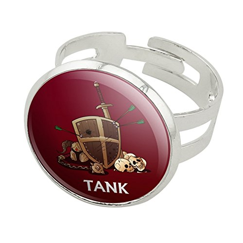 Tank Warrior RPG MMORPG Class Role Playing Game Silver Plated Adjustable Novelty Ring