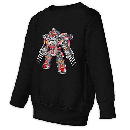 Juvenile Form - Toddler Juvenile O-Neck Long Sleeve Robot Cyborg with Weapons in The Form of Claws Sweatshirt Black 39