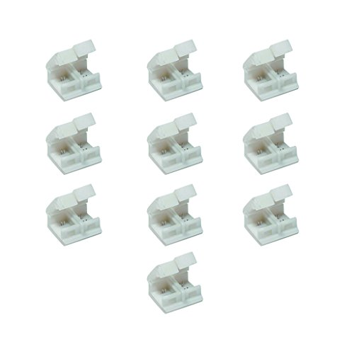 LED Strip Solderless Connector Adaptor for Waterproof Single Color Led Strip with 8mm PCB (2 Pin Single Color 5050 2835 3528 3014 5730 Strip Connector), Pack of 10