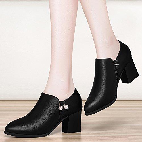 weiblichem mit Schuhe Black Schuhe Absätzen mit Xie Mutter mit Autumn dicker hohen Schuhe Korean Allgleiches Ladies KHSKX Ziqiu ftx6q1zw