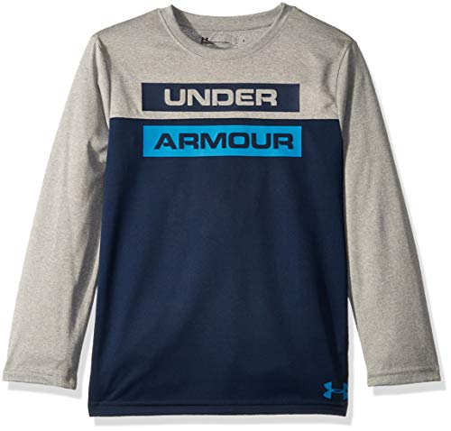 Under Armour Boys' Little Long Sleeve Graphic Tee Shirt, Blocked True Grey Heather, 6