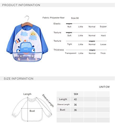[2 pack] Baby bibs with pocket,Waterproof sleeved bib,100% polyester fiber Bibs for Teething Feeding Baby_CLRST5q by AaBbDd (Image #5)