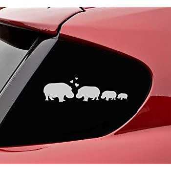 Hippopotamus hippo stick family love vinyl decal sticker satin silver