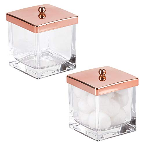 mDesign Glass Modern Square Bathroom Vanity Countertop Storage Organizer Canister Jar for Cotton Swabs, Rounds, Balls, Makeup Sponges, Beauty Blenders, Bath Salts - 2 Pack, Clear/Rose Gold Lid
