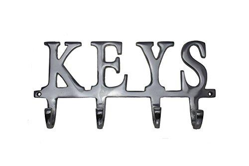 "Key Holder ""Keys"" – Wall Mounted Key Holder - 4 Key Hooks Rack - Decorative Cast Aluminum Key Rack - Polished Finish - with Screws and Anchors - by Comfify (Keys AL-1507-20)"