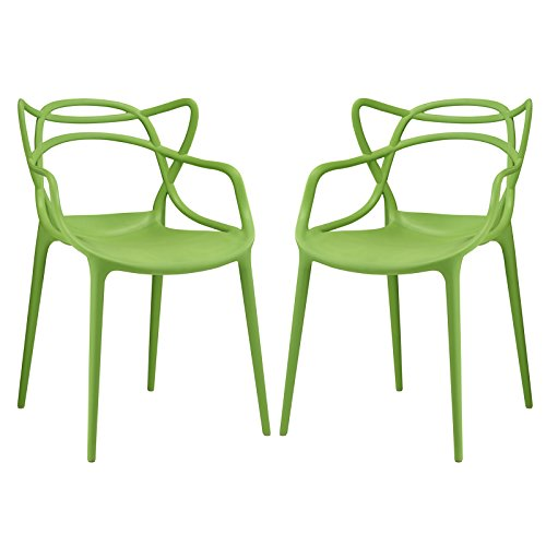 Modway Entangled Contemporary Modern Dining Armchairs in Green – Set of 2