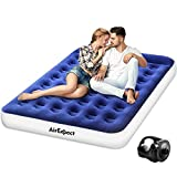 Air Mattress Camping AirBed Queen Size - AirExpect Leak Proof Inflatable Mattress with Rechargeable Electric Pump Built-in Pillow for Guest,Camping,Hiking, Height 9', 2-Year Warranty, Storage Bag